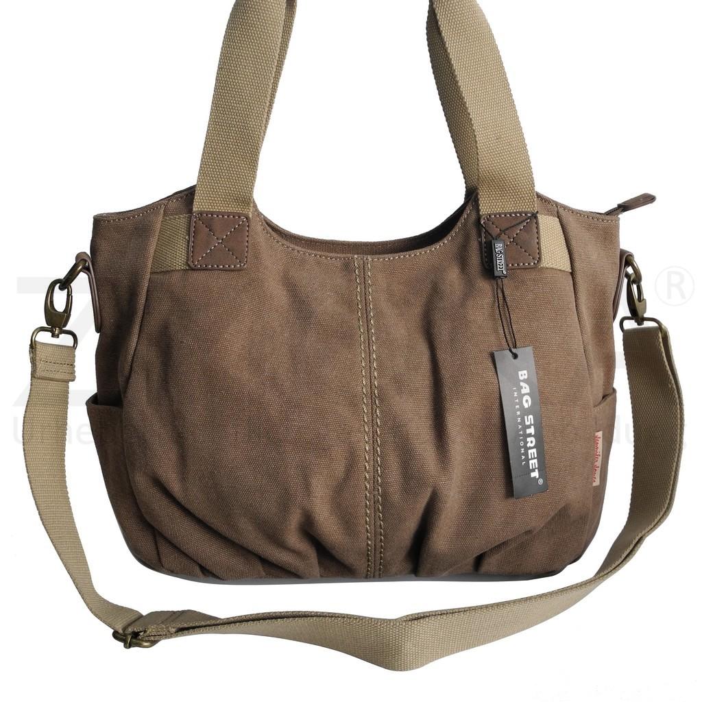 Canvas Damen Umhängetasche Handtasche  Schultertasche Jennifer Jones Braun